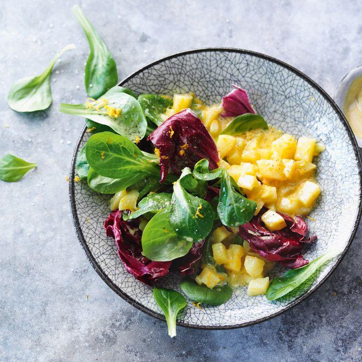 Rezept für Feldsalat mit Kartoffeldressing | Küchengötter