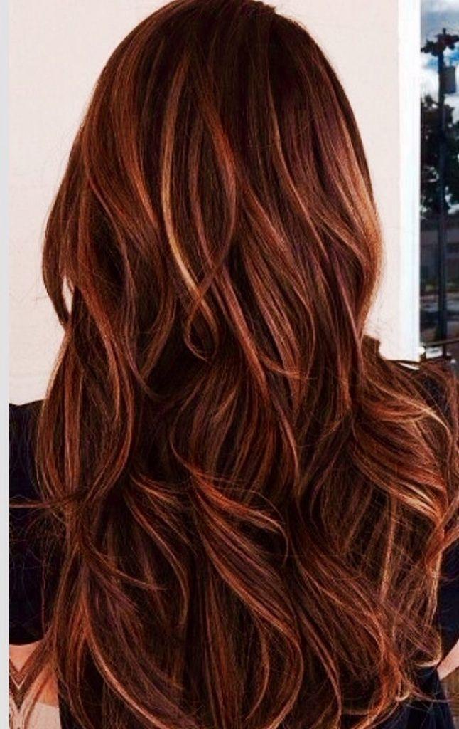 And Caramel Highlights In Dark Brown Hair Red And Caramel Highlights Auburn Hair With Highlights Long Hair Styles Hair Color Auburn