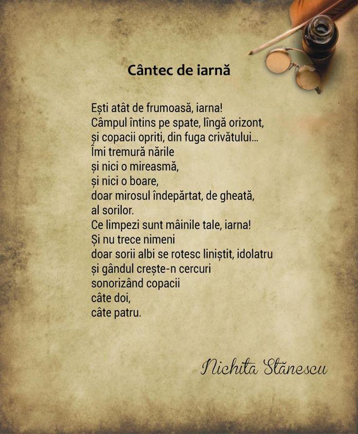 Cantec de iarna de Nichita Stanescu, poezii
