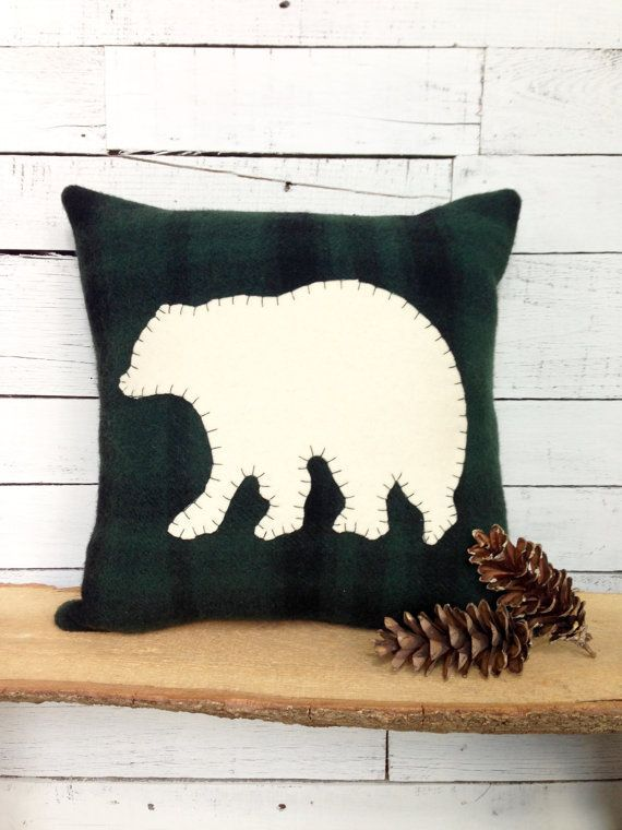 Decorative Throw Pillow Bear Pillow Rustic Cabin by AwayUpNorth