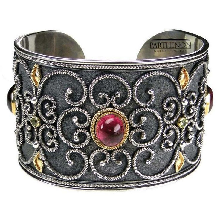 Parthenon Greek Silver and 18k Gold Cuff Bracelet- Parthenon Greek Jewelry