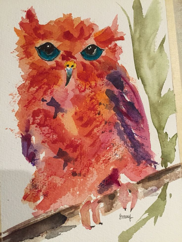 """""""Unreal"""" The Red Owl Watercolor"""