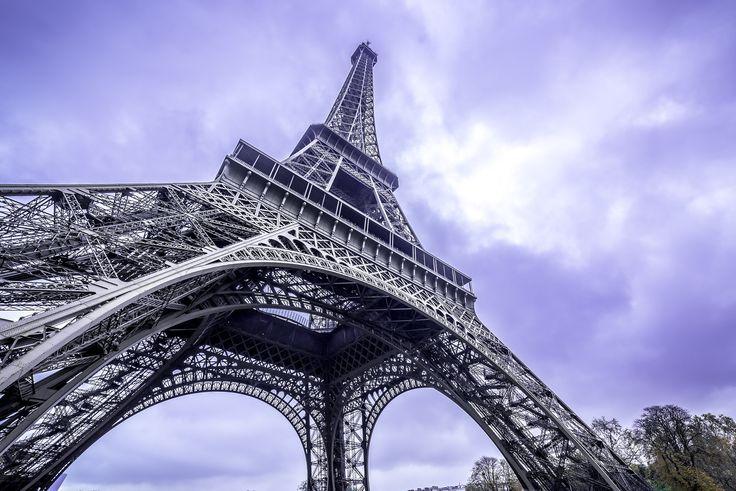 Eiffel Tower scenic bottom view.