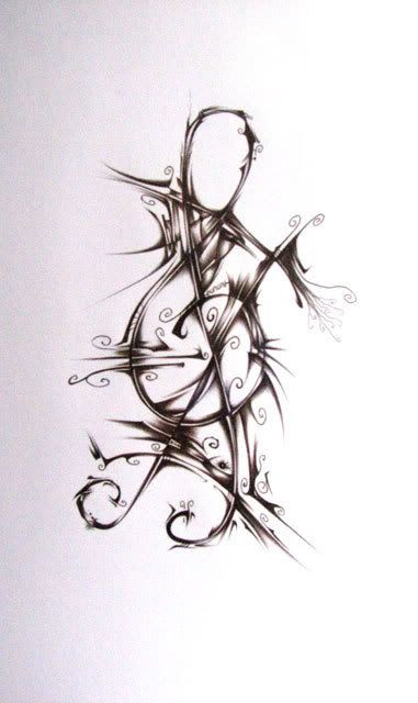 this isn't a tattoo i wanna get, but it inspired me with an idea for a tattoo. Get some sort of music symbol and then have it be stretching like this (like tissues in the body) and make it like it's actually in my body, because music means something deeper to me and I can feel it in my soul