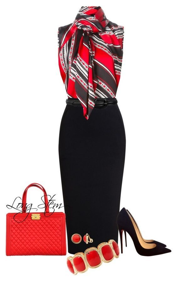 Office outfit with a black skirt and a red colored top - LadyStyle