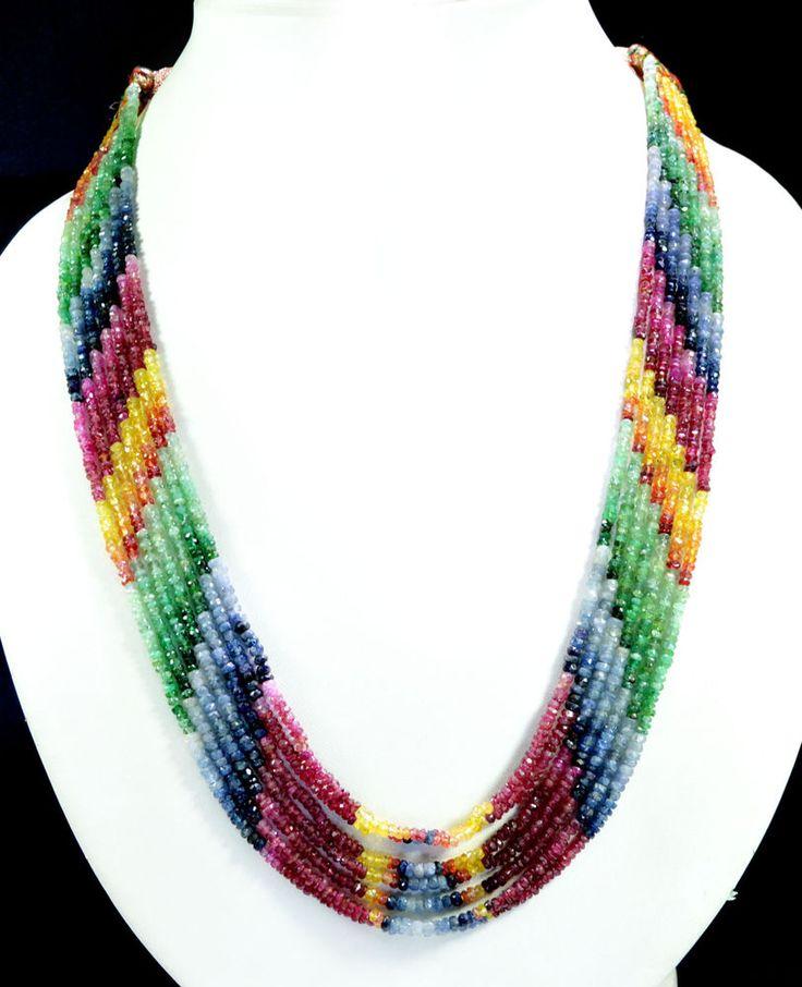 7 Strands Natural Ruby Emerald Sapphire 268ct Multi Row Gemstone Beads Necklace #KrishnaGemsNJewels #StrandString
