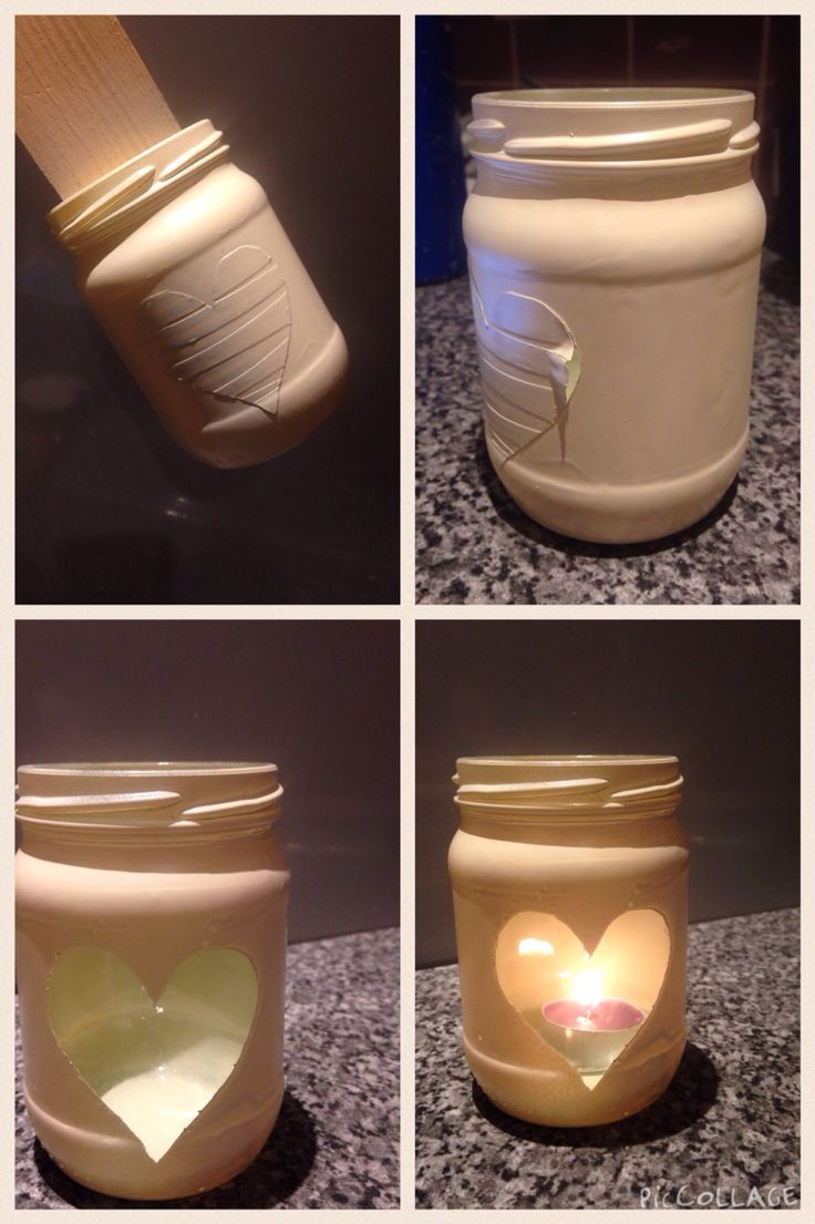 Old jar, masking tape a heart shape, spray jar, peel off tape and add a candle
