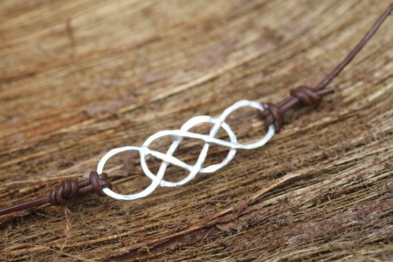 Double Infinity Leather Bracelet  Silver Rose or by SimplyLeilani