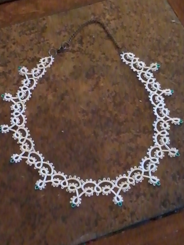 Tatted Necklace with Beads by SnazzyLittleKnits on Etsy,