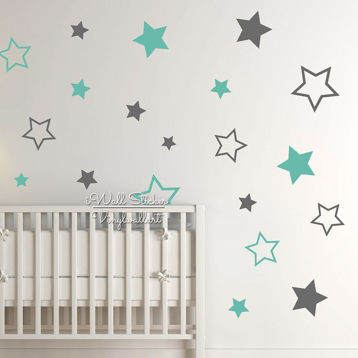 Baby Nursery Stars Wall Sticker Star Wall Decal Children Room Wall Sticker Kids Room Easy Wall Art Cut Vinyl N22