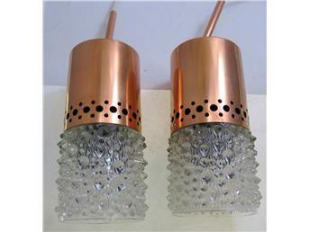 1 par Fönsterlampor  koppar och glas