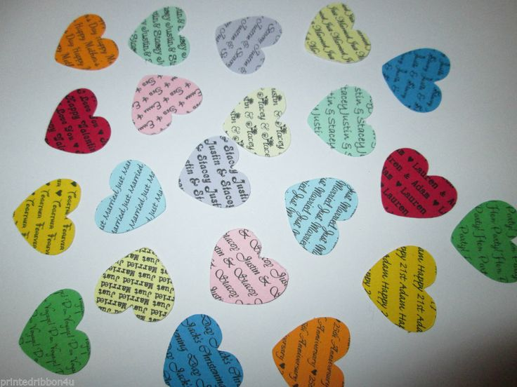 100 Personalised Confetti Hearts Wedding Party Birthday Christening Table Décor