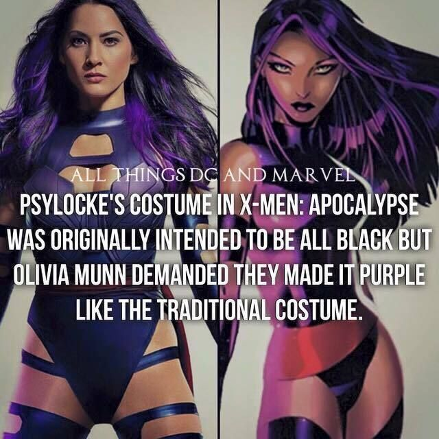 Psylocke's Costume in X-men: Apocalypse was originally intended to be all black but Olivia Munn demanded they make it purple like the traditional costume. Good for her making sure there is some accuracy!