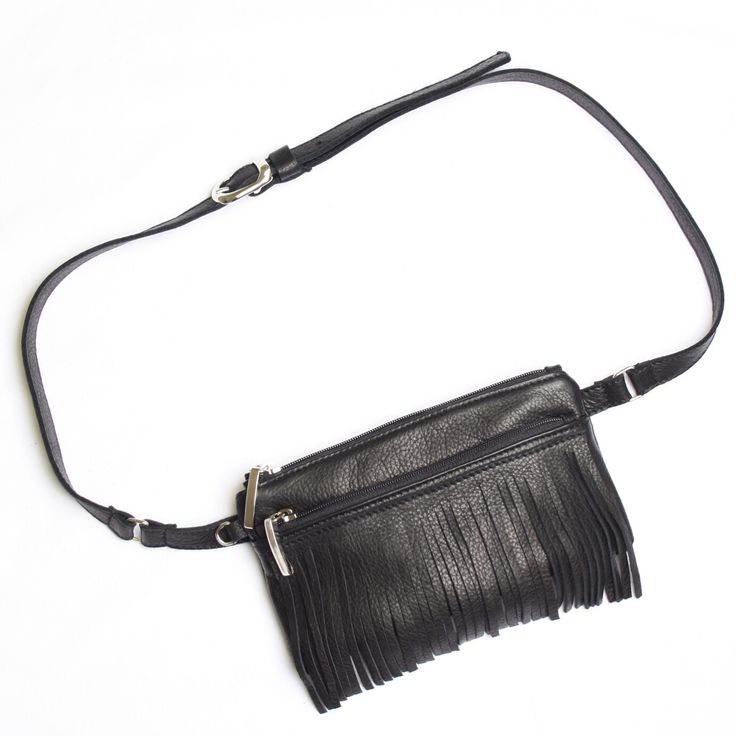 Black belt bag with fringe, handmade in the Netherlands, one off, exclusive, www.bruijs.com