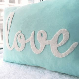 DIY inspiration for one word pillow applique