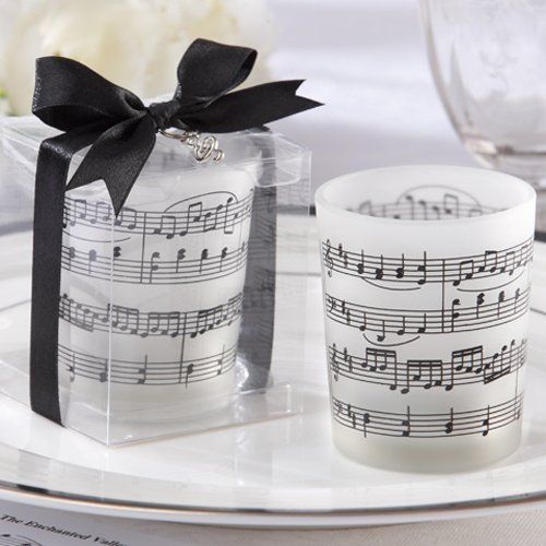 Music Notes Frosted-Glass Tea Light Holder by Beau-coup