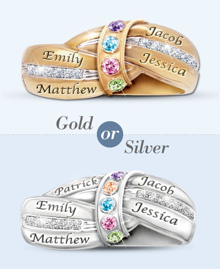 Capture the loving embrace of a mother with this personalized birthstone ring. Silver or gold?