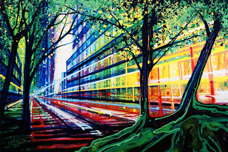 """Amy Shackleton, Central Parkway (New York City + Central Park) June 2012, 30"""" x 45"""" Acrylic and enamel on canvas"""