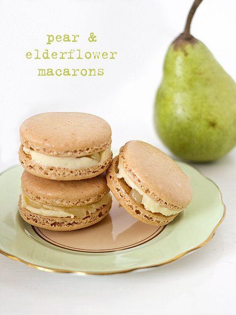 Pear & elderflower macarons