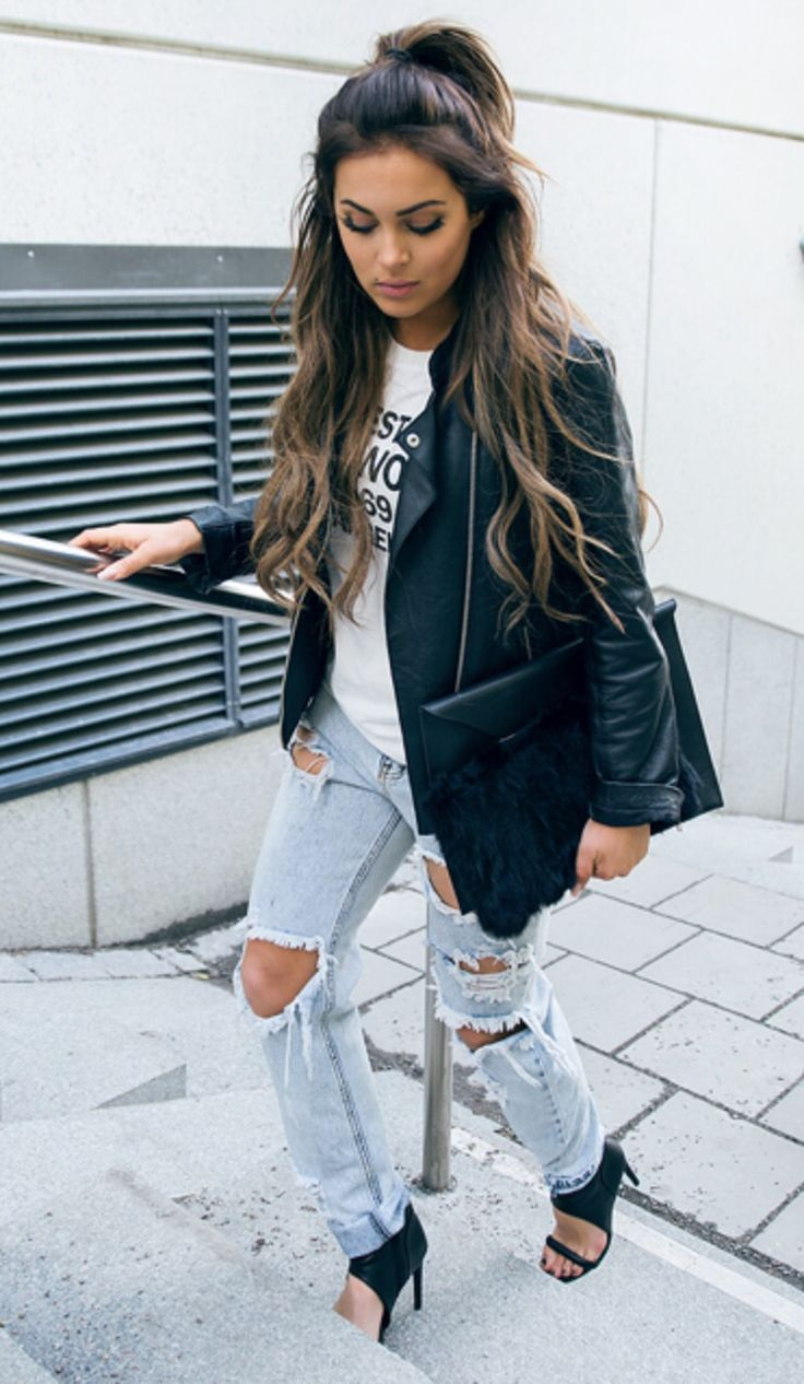 Casual cool with leather and distressed denim:
