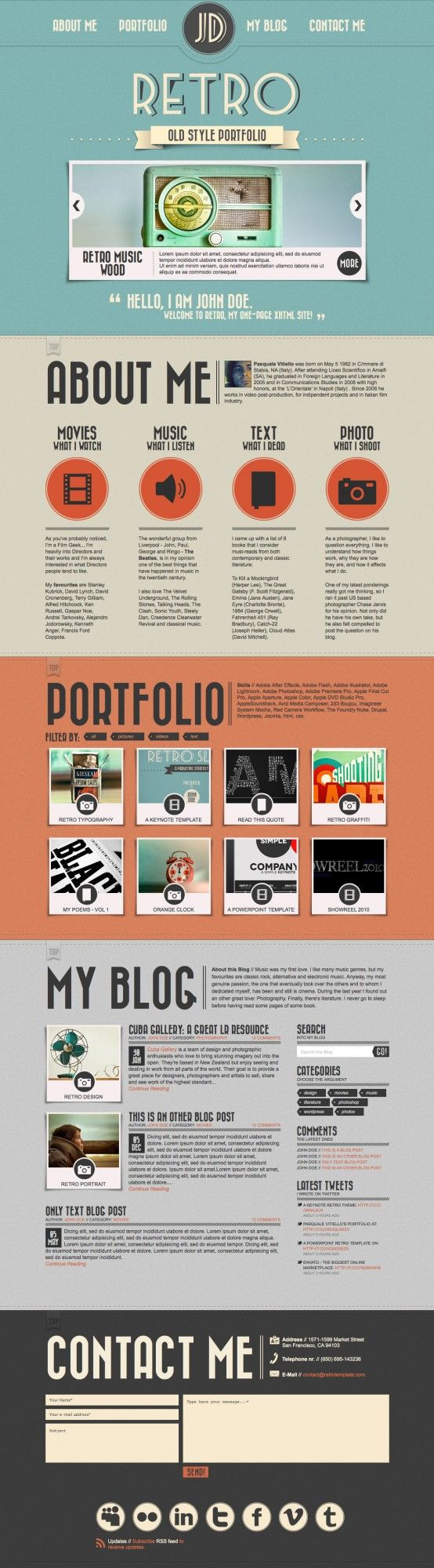 retro themed online portfolio design for the web i like the flat coloring