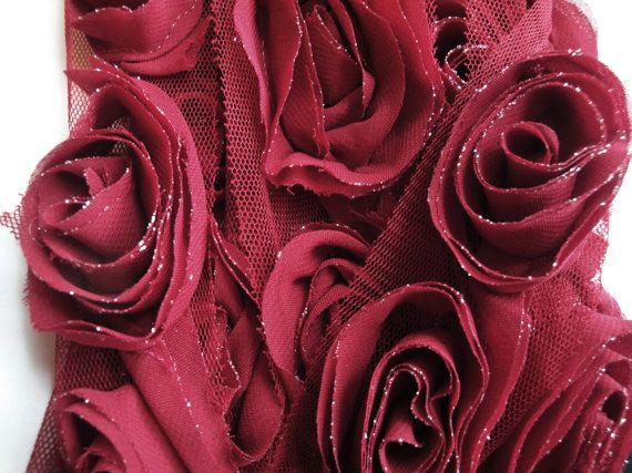 """2 Yards of 1.5"""" Wide Dark Red Burgundy Maroon Tulle Chiffon Roses Trim with Silver Metallic Lace Trim Floral Trim S116"""