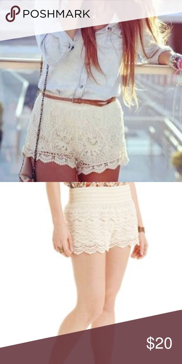 American Rag Lace Shorts Lovely cream lace shorts by American Rag. Perfect way to dress up any summer look! Cotton. Elastic band. American Rag Shorts