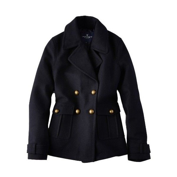 Military Wool Peacoat ($100) ❤ liked on Polyvore featuring outerwear, coats, military peacoat, black wool peacoat, military fashion, pea jacket en military pea coat