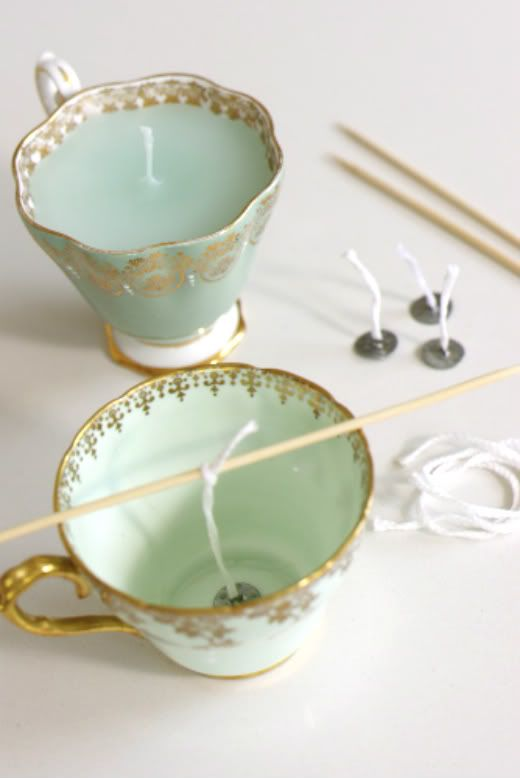 DIY candles in a teacup ❥