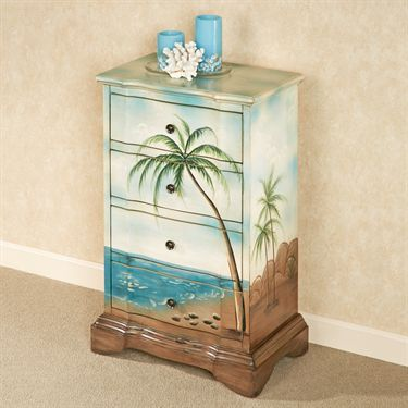 Niradei Handpainted Tropical Storage Chest