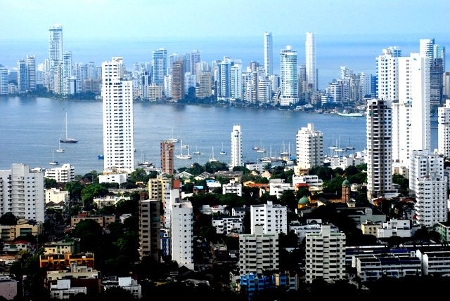 Day 174: Downtown Cartagena (foreground) and Bocagrands (background) as seen from La Popa (Colombia)