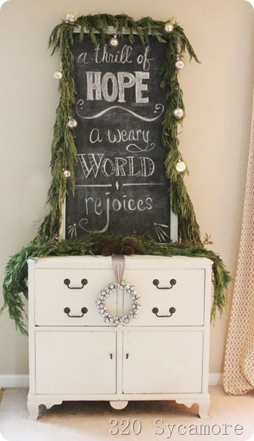 """""""A Thrill of Hope, A Weary World Rejoices"""" Silent Night christmas chalkboard 320 Sycamore"""
