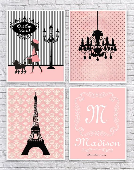 Set of four Paris themed art prints in pink, black and white, perfect for a girls nursery or bedroom. The first print features a Paris