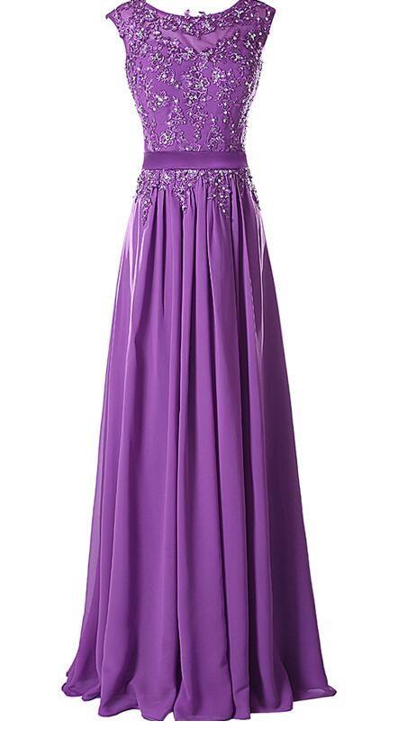 Long Evening Dresses,Purple Evening Dresses,Evening Dresses Chiffon,Applique Party Gowns,Handmade Beads Evening Gowns,Cheap Evening Dresses