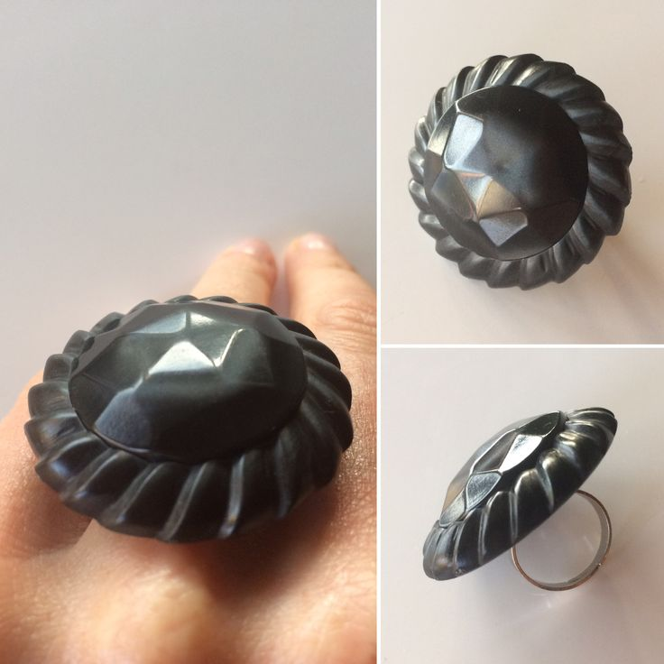 A big shiny grey ring made of a vintage button from Borås, Sweden.