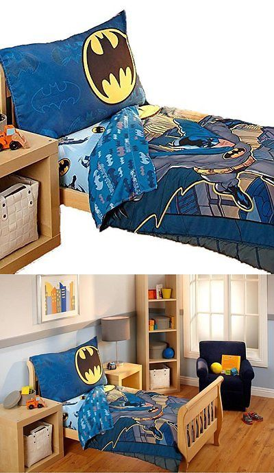 Kids at Home: Superhero Batman 4 Piece Boys Toddler Kids Bedding Set Bed In A Bag BUY IT NOW ONLY: $132.56