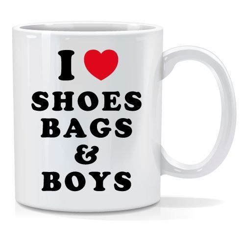 Tazza personalizzata I love shoes bags & boys