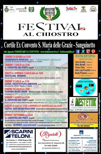 SANGUINETTO CHANNEL: FESTIVAL AL CHIOSTRO 2017, al via Venerdì 30 Giugn...