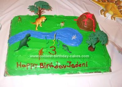 Homemade Dinosaur Scene Cake: My son had a dinosaur theme for his birthday and I was very proud of how well the Dinosaur Scene cake came out.  I used a Wilton cake pan for the volcano.
