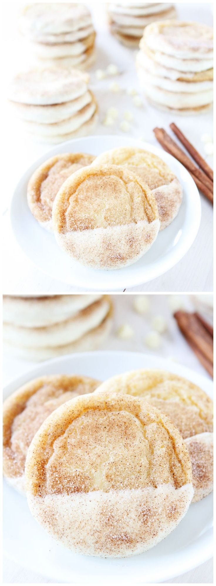 White Chocolate Dipped Snickerdoodle Recipe on twopeasandtheirpod.com  These are the BEST snickerdoodles! They are pretty too!