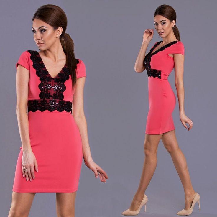 Korall/fekete csipkés ruha