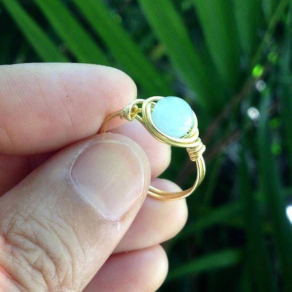 gold aquamarine ring 18 karat gold fill aquamarine ring