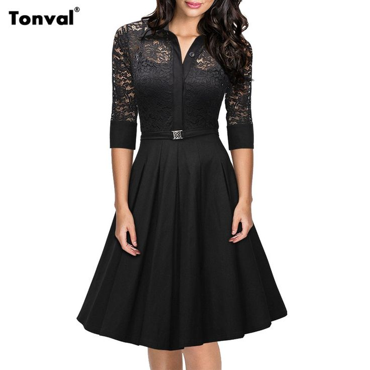 Women Floral Lace Rockabilly Vintage Dress Elegant Turn Down Collar Evening Party Black Sexy Swing Dresses