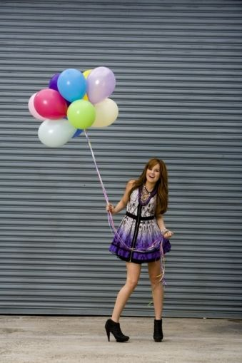Debby Ryan with balloons again. So adorable. From a photoshoot for Bop & Tigerbeat