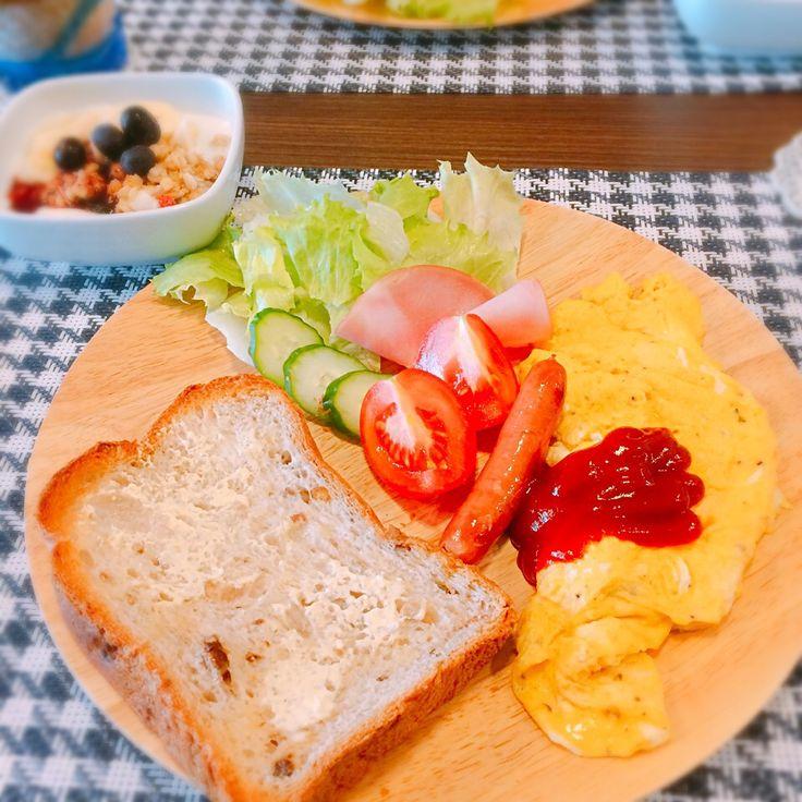 ゆかりんご's dish photo 胡桃パンでワンプレート朝食 | http://snapdish.co #SnapDish #朝ご飯 #食パン
