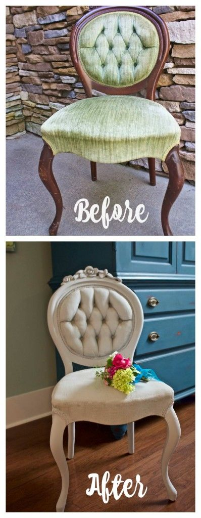 Paris Grey Chalk Painted Chair. Painted Chair and fabric. Painted upholstery. – The Zero Dollar DIY Challenge