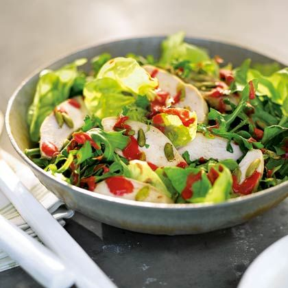 Giada Weeknights at Home....Chicken, Bibb, and Arugula Salad with Raspberry Vinaigrette Recipe