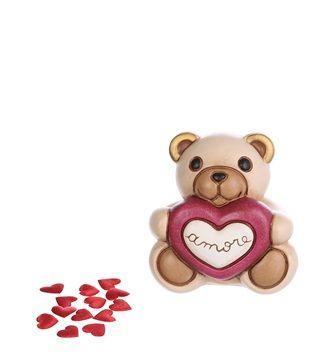 Orsetto con cuore ceramica panna rosso Thun
