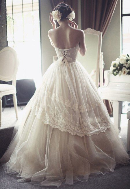 Victorian inspired wedding gown.