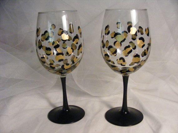 leopardo pintado impresión copas